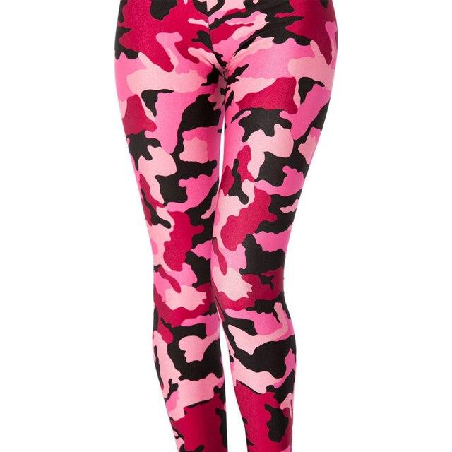 c8d0844cc00d2 S-4XL New Fashion Women Pink Camouflage 3D Printed Leggings Female Skinny  Pant High waist Female Big size legging