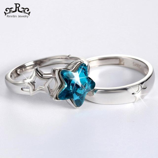 Zircon Silver 925 Resizable Couple Ring