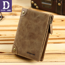 DIDE Äkta Läder Mäns Plånbok Kort Vertikal Plånbok Man Märke Vintage Design Zipper Mynt Purse Card Holder Dropshipping