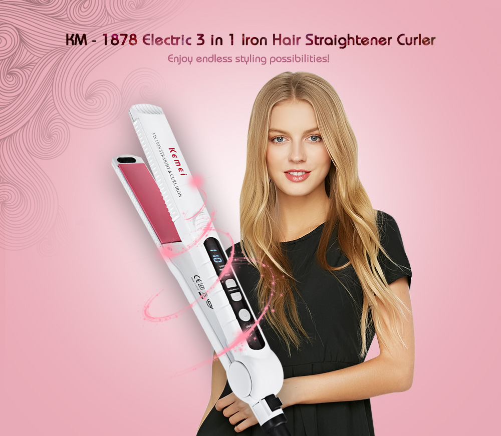 Kemei KM - 1878 Electric 3 in 1 Iron Hair Straightener Curler PTC heating Curling Iron Automatic Styling Tools Curling Tongs kemei km 211 professional electric ceramic curling iron hair curler straightener hair care styling salon tools with eu plug
