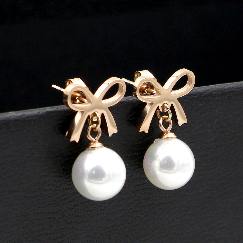 Fashion new jewelry cute bowknot pearl rose gold girl earrings wild for the girl girl the best gifty woman earring