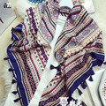 2016 hot sale fashion woman 110*110cm Scarf cotton linen square scarves short tassel Geometric pattern Women Winter lady shawls