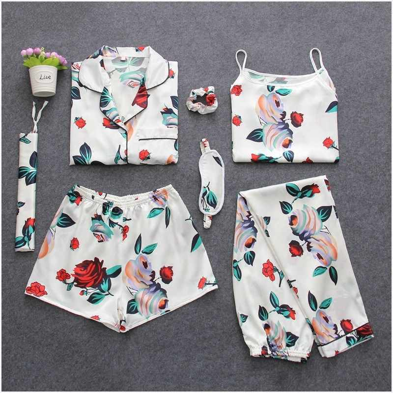 dae56301ad8593 ... Fdfklak Home Clothes 7 Pieces Silk Floral Pyjamas Pijamas Women Clothes  Sleepwear Pajamas Set Womens Lounge