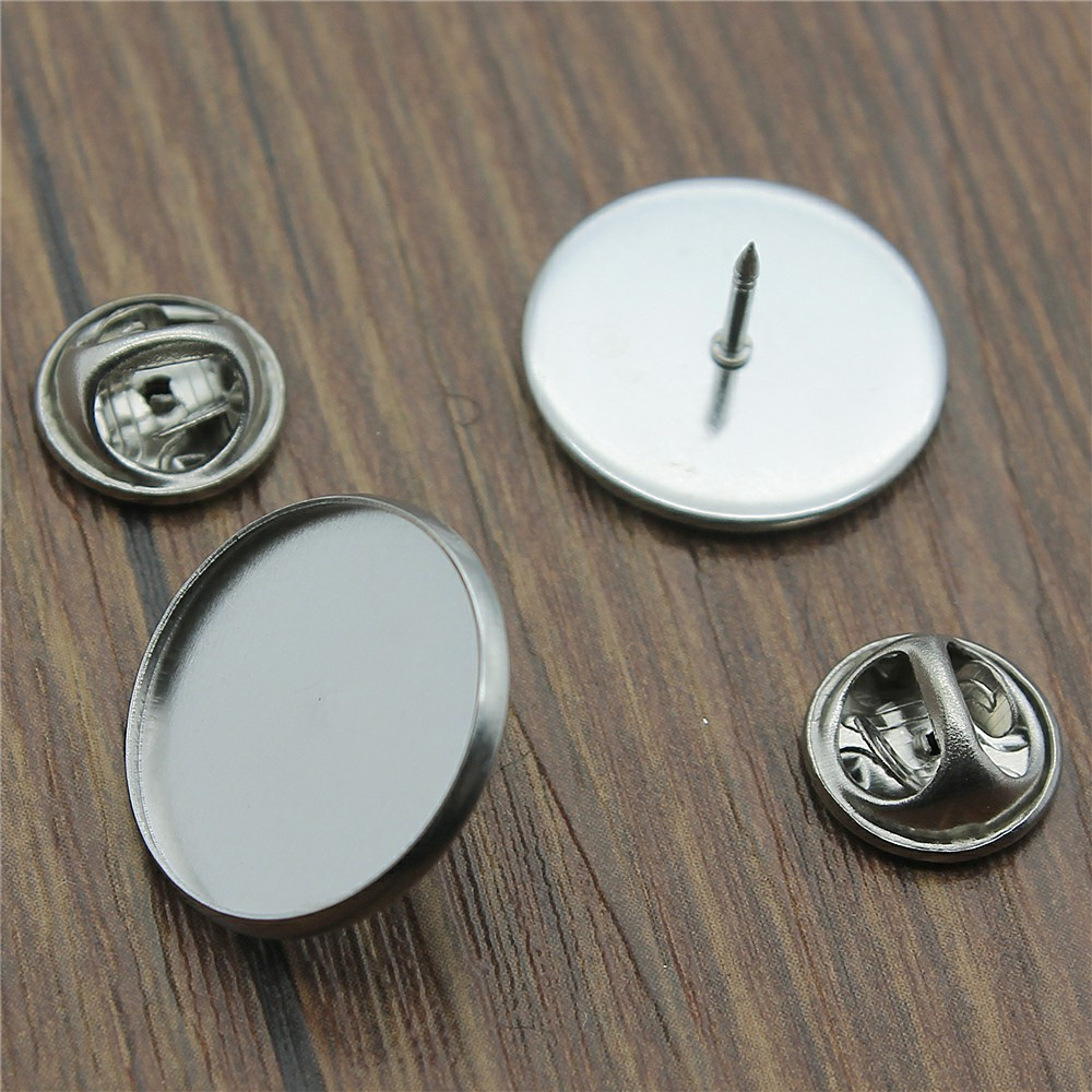 12 or 24 Adhesive Stickers DIY Optional Glass 12 12 BRONZE Tone 18mm or 20mm Bezel Blank Tie Tack Brooch Pin 16mm