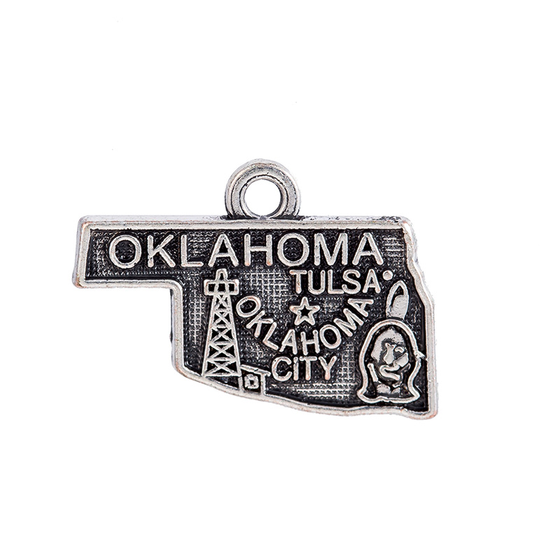 Double side Silver Oklahoma State Map Dangle Charms Jewelry 2 Style DIY Fit Bracelet Necklace 50PCS/Lots
