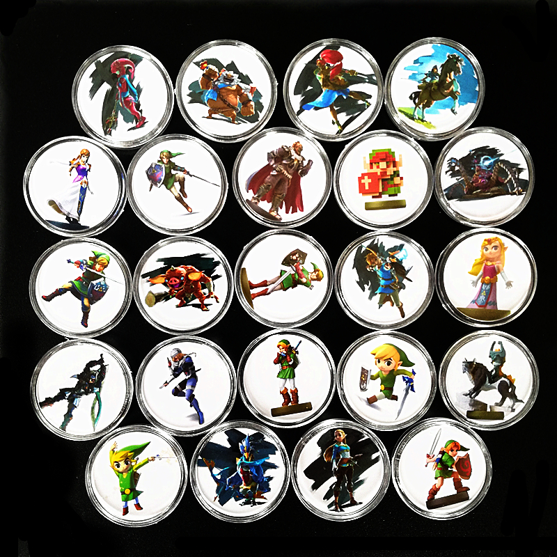 Full Set 24Pcs Breath for the Wild <font><b>Zelda</b></font> Game NFC Collection Coin Of <font><b>Amiibo</b></font> <font><b>Card</b></font> Ntag215 Tag Include Young Link Link's Awakening image
