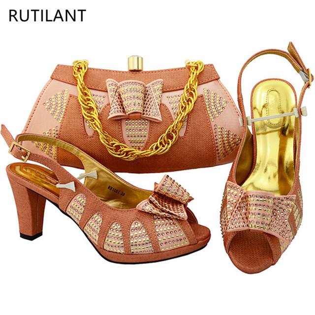 New Arrival Peach Color Italian Shoe Bag Set Nigerian Party And Sets African Matching