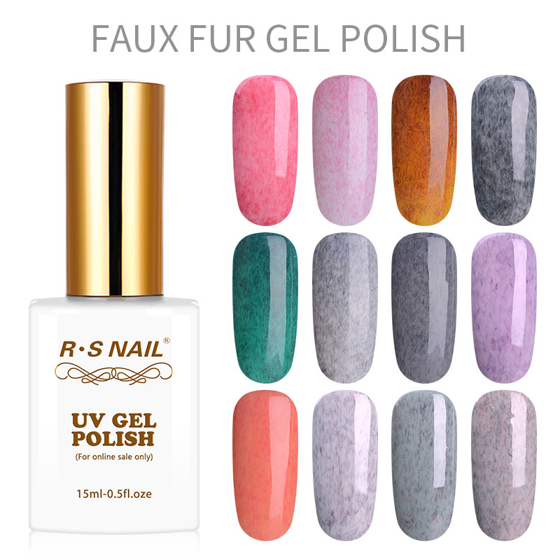 RS Nail 15ml wholesale faux fur gel nail polish uv color gel lacquer set varnish for