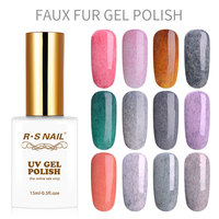 RS Nail 15ml wholesale faux fur gel nail polish uv color gel lacquer set varnish for manicure uv led gel varnish