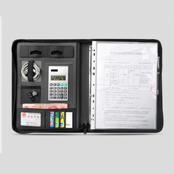 A4 della chiusura lampo di cuoio di Affari sacchetto gestore per i documenti padfolio con la cartella raccoglitore ad anelli ipad iphone mobile del supporto del basamento 1235B