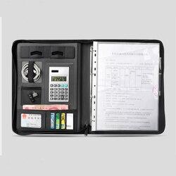 A4 zipper Business leder manager tasche für dokumente padfolio aktentasche mit ring binder ipad iphone handy ständer halter 1235B
