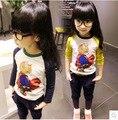 Size100 ~ 140 criança tops tees t-shirt das crianças dos meninos camisas de manga longa t shirt meninas supercat