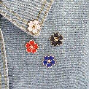 Набор цветочных брошек на кнопках, красные, белые, синие, черные, розовые бейджи, эмалированные куртки, рубашка, воротник, брошка, модные ювел...