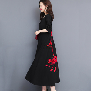2019 春新ルースコットヴィンテージ刺繍ドレス女性大サイズvネック中国風の長袖ロングドレスL-5XL cc468