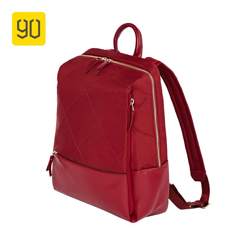 Xiaomi L'écosystème 90FUN Mode Diamant Treillis Sac À Dos Femmes Fille Shopping Sac d'ordinateur portable pour College School Voyage Voyage, rouge/Noir