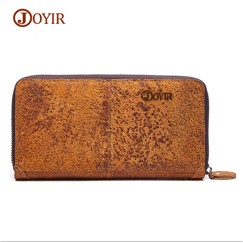 JOYIR Genuine Leather Wallet Men Purse Card Holder Coin Purse Money Vintage Male Clutch Long Zipper Men Wallets Male Wallet joyir men double zipper wallets genuine leather men wallets business clutch wallet bag male wallet coin purse card holder