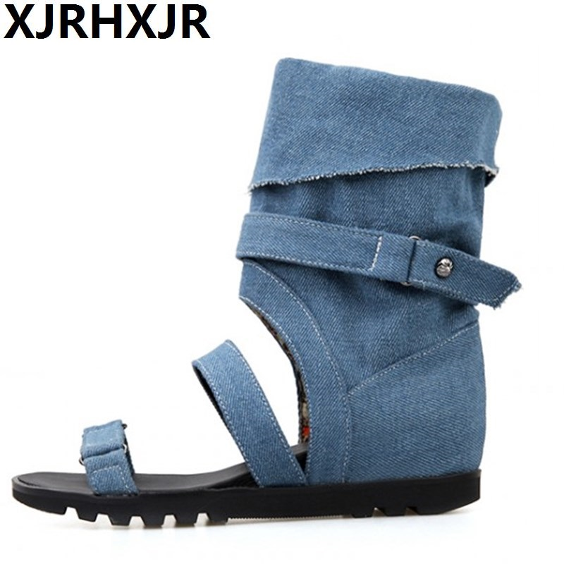 Women New Fashion Spring Summer Denim Cool Boots High Leg 2017 British Style Hidden Heels Open Toe Casual Shoes 2017 new european and american romantic pop black magazine cool shoes sexy fashion hollow women boots fashion summer boots