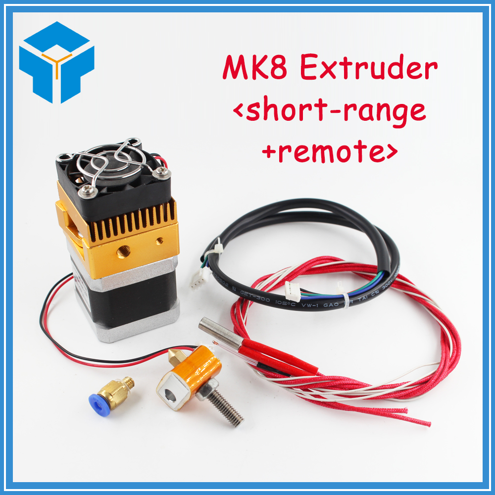 3D Printer Head MK8 Extruder J-head Hotend Nozzle 0.4mm Feed Inlet Diameter 1.75 Filament Extra Nozzle +1 meter motor cable