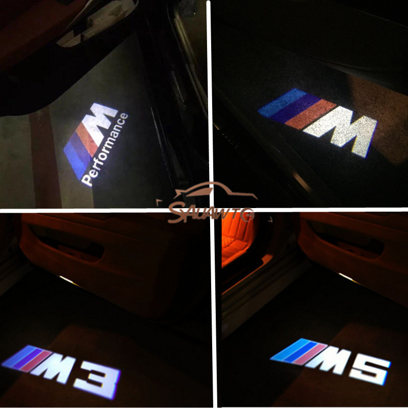 2X For BMW E90 F10 F30 E60 X3 X6 E92 Z4 E61 E93 E63 M M3 M5 Performance Car LED Door Warning Light welcome Logo Projector car styling for bmw m real carbon fiber handbrake cover fitting kit e87 e90 e92 e60 e63 e64 m5 m3 m tec