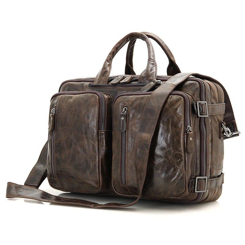 Pour hommes porte-documents fourre-tout en cuir véritable hommes Messenger sacs voyage pochette d'ordinateur d'affaires en cuir de vache sac à bandoulière portefeuille # J7014