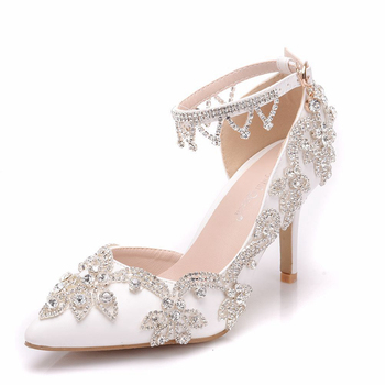 2019 New Arrive Pointed Toe Crystal Wedding Shoes Ankle Strap Fashion High Pumps White Party Dress Shoe Sweety Sandals XY-A0284