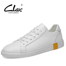 CLAX Mans Shoes Leather 2019 Spring Autumn Casual Shoe Male White Walking Footwear Soft Leisurer