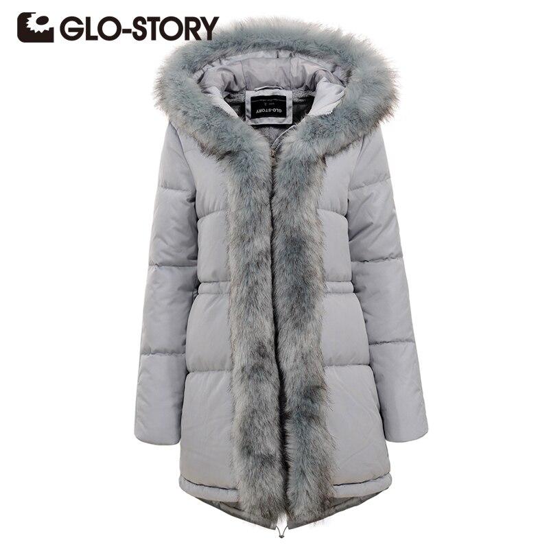 GLO-STORY Winter Jackets 2018 Women Hooded Fur Collar Coat Black Casual Korean Style Women Medium Long Outerwear Parkas 4588 medium long style korean style hooded coat