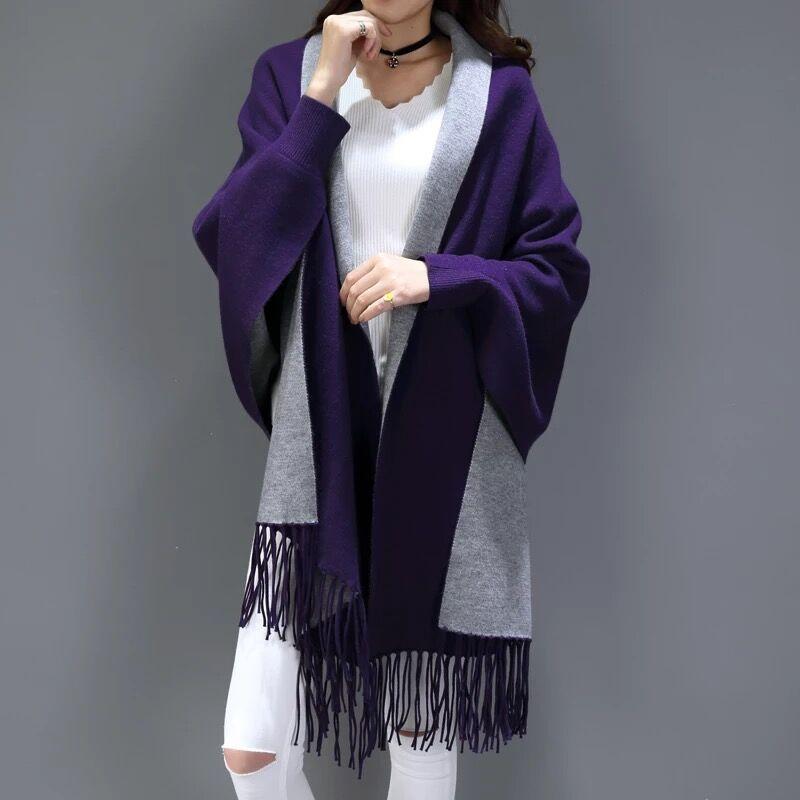 SC2 большой шарф Зимний вязаный пончо женский однотонный дизайнерский плащ женский длинный рукав летучая мышь пальто винтажная шаль - Цвет: Purple With Grey
