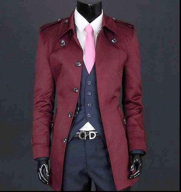 d2a632a83f92f Ropa de hombre color rojo vino negro beige primavera delgada abrigo largo  Delgado medio-largo