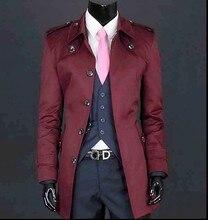 Wine pink black beige Men's clothes spring skinny males coat lengthy slim medium-long informal males's khaki trench coat males plus dimension 3XL