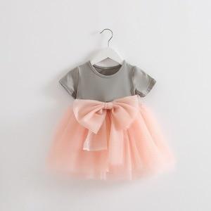 Розничная продажа! 2016 летнее платье, платье для новорожденных девочек, хлопковое кружевное платье принцессы, платье с большим бантом, От 1 до...