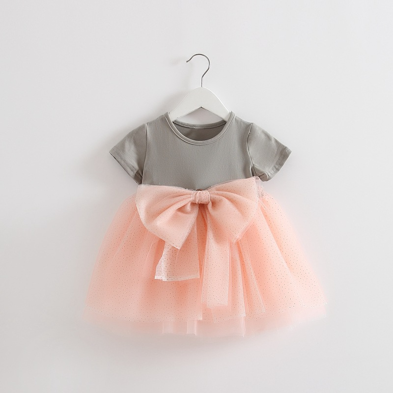 retail! 2016 <font><b>summer</b></font> <font><b>dress</b></font> newborn <font><b>baby</b></font> girl <font><b>dress</b></font> cotton lace princess <font><b>dress</b></font> big bow <font><b>dress</b></font> girls 1-2 years old free shipping image