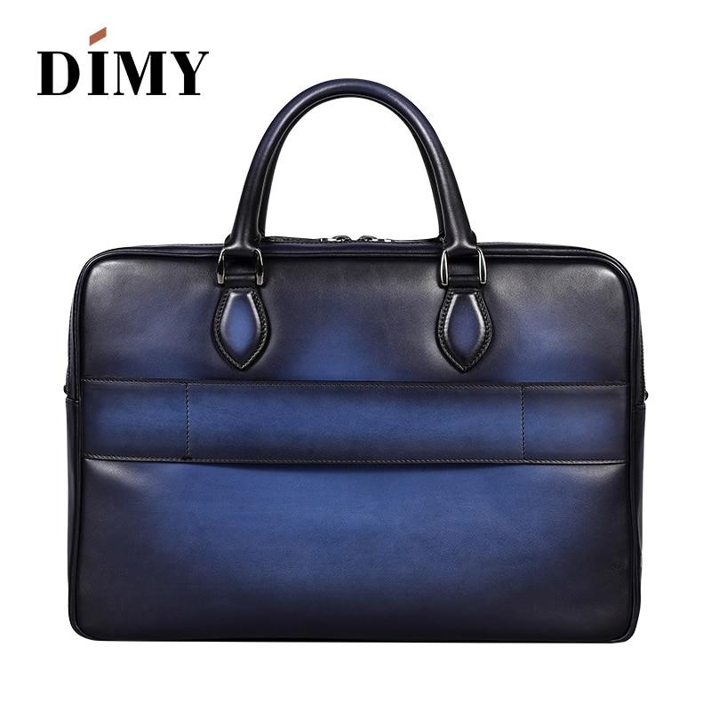 DIMY Hand Patina Vintage Briefcase Genuine Cow Leather Shoulder Bag Double Zipper Laptop Bags Business Case Travel Bag For Men