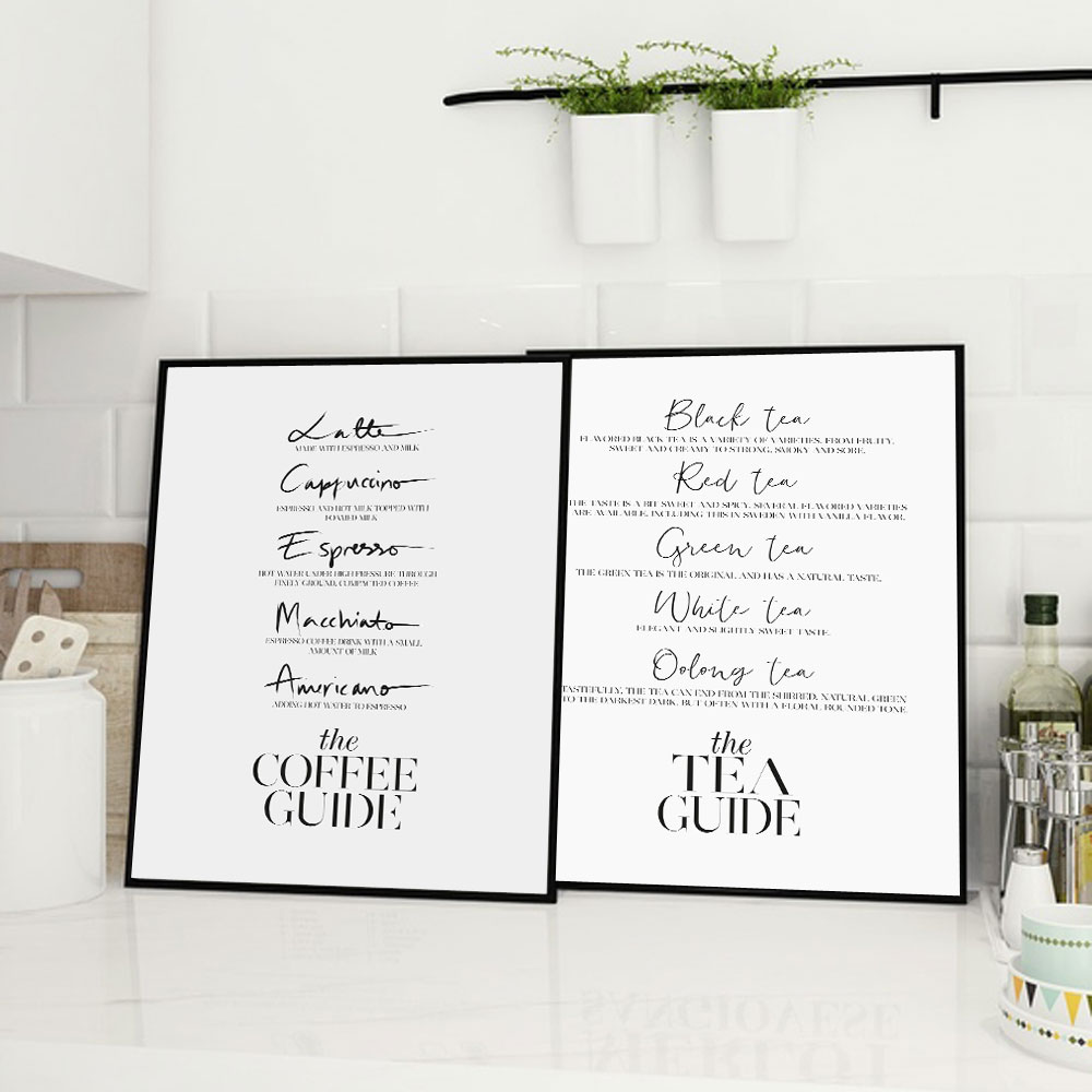 Coffee Guide Tea Posters And Prints Wine Champagne Wall Art Canvas Painting Wall Pictures For Laundry Room Modern Art Wall Decor