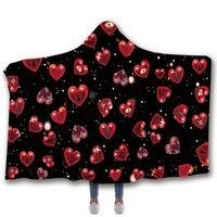 Anti Samely Scarves & Wraps Hooded Blanket 3D Print Halloween Eyeball love hooded poncho scarf shawl manteau femme hiver