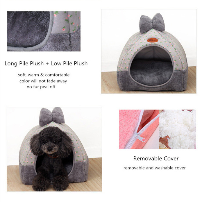 GLORIOUS KEK Foldable Dog Bed Sofa Dog House For Small Dog Or Cat Cute Prints Cover Removable Dog Mat Pet Beds Winter/Summer Use