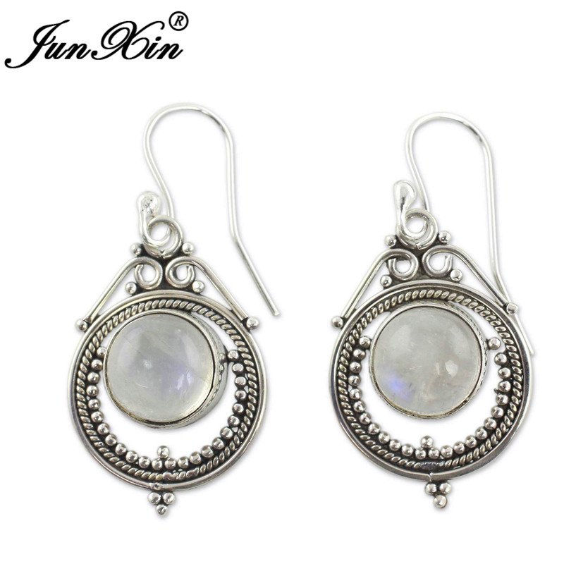 HTB19rMsX2jsK1Rjy1Xaq6zispXas - JUNXIN Antique Silver Geometry Moonstone Drop Earrings For Women Boho Round Red Blue Opal Earrings Female Zircon Wedding Jewelry