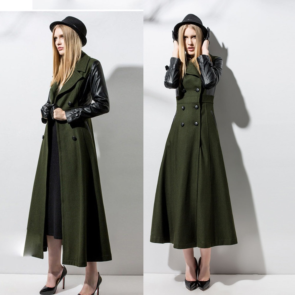 Autumn winter woman vintage army green PU spliced maxi coat ankle ...