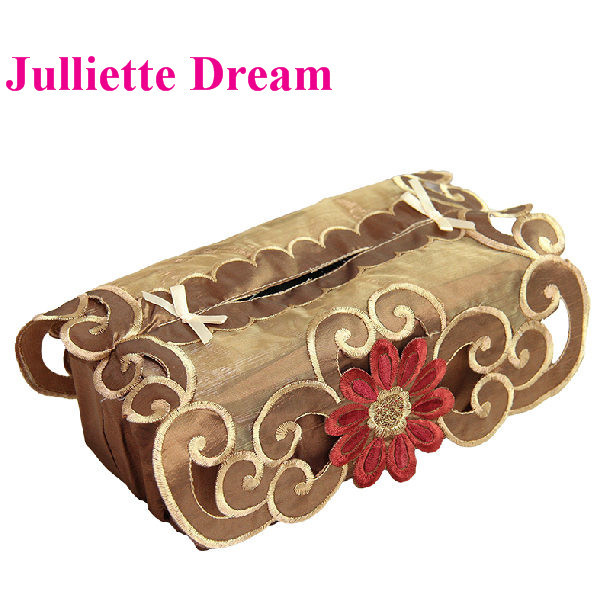Organza Fabric tissue box cover wedding decoration rustic dustproof embroidered european style home textile car tissue box