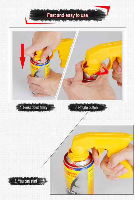 Aerosol Spray Gun Handle with Full Grip Trigger Adapter Locking Collar for Car Paint Care Maintenance Painting Paint Tool