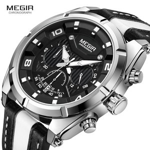 Image 3 - MEGIR אופנה גברים של הכרונוגרף קוורץ שעונים עור רצועת זוהר ידיים 24 שעה ספורט אנלוגי שעוני יד לגבר 2076 לבן