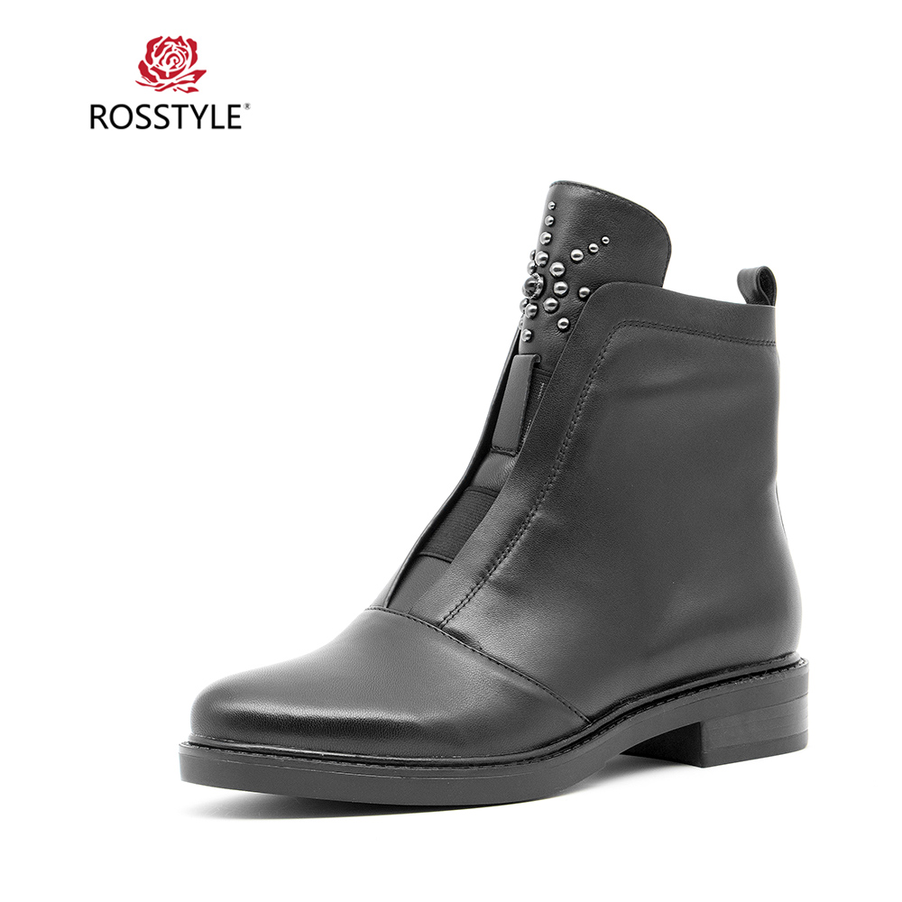 ROSSTYLE Winter Woman Boots Fashion Zipper Flat High Quality Genuine Leather Sexy Round Toe Ankle Max Size 36-40 B95