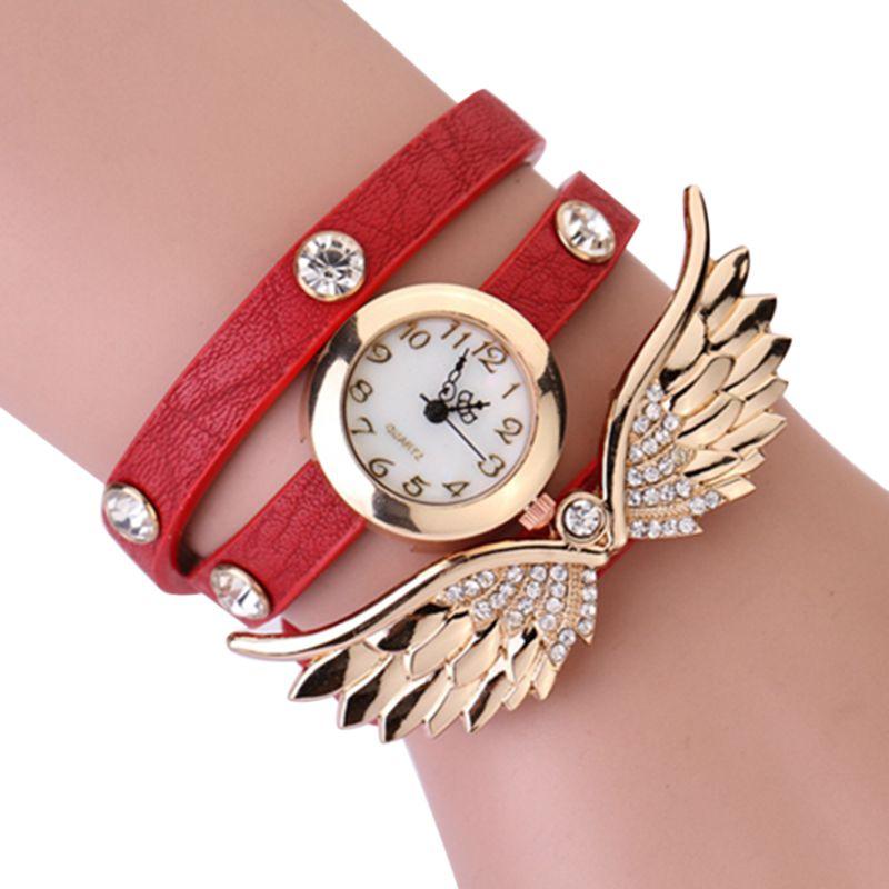 New Fashion Women Watches Girls Analog Quartz Wristwatch Ladies Dress Bracelet Watches Angel Wings Diamond 3 Laps Clock