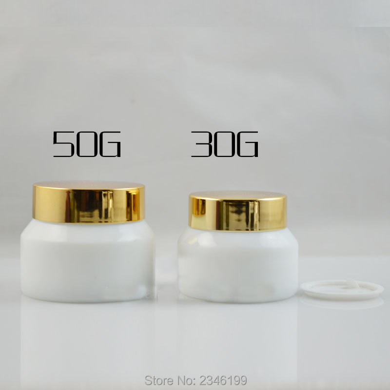 50g 30g 15g 15pcslot white glass jar with gold lid empty high grade - Wholesale Glass Jars