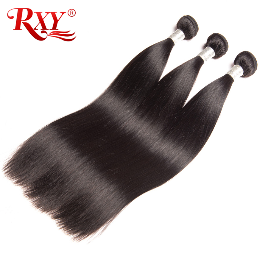 Rxy Peruvian Straight Hair Bundles 100g 10-28inch Remy Hair Weave Natural Color 100% Human Hair Bundles No Tangle No Shedding
