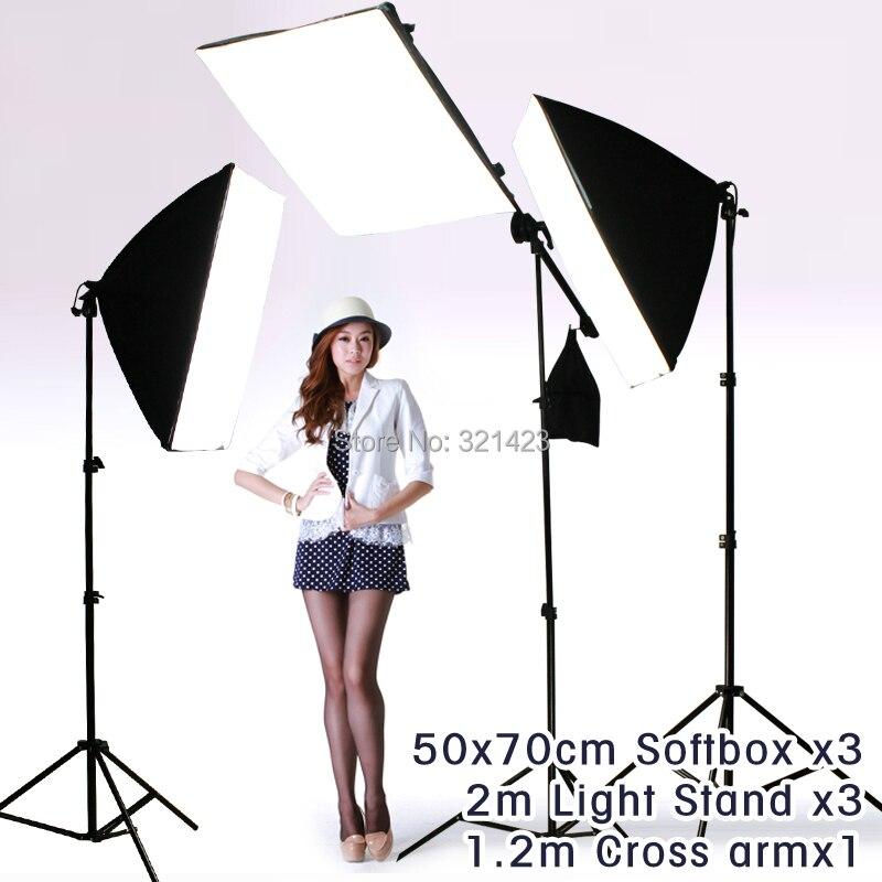 Photography Rectangle Continuous 50x70cm Softbox 3pcs Light Holder Stand 3pcs And Cross Arm X1pcs Photo Studio Equipment Set