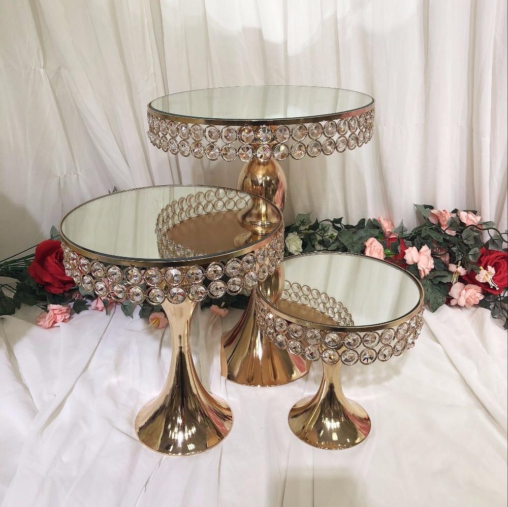 3 шт. роскошное хрустальное зеркало свадебный высокий торт Центральный держатель подставка Торт Помадка кекс стол candybar украшение для торта