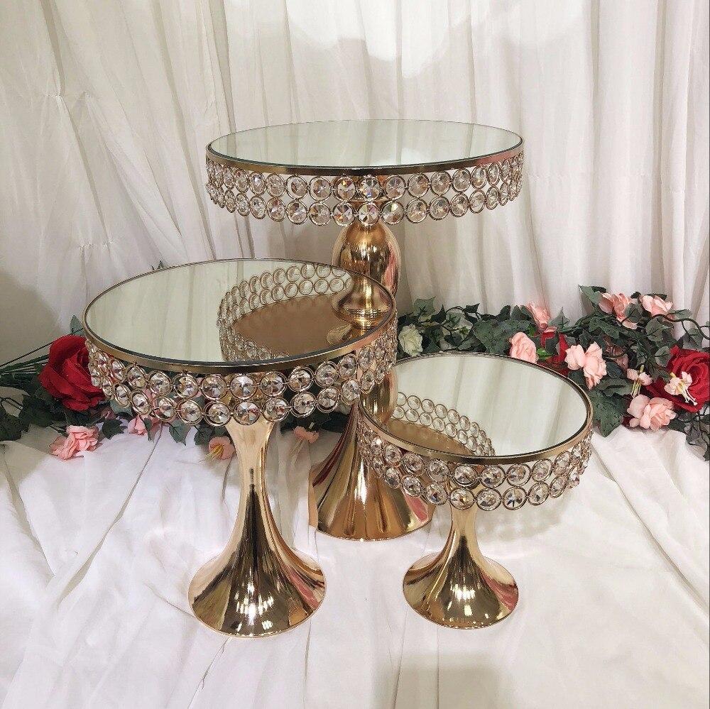 3 pièces de luxe cristal miroir mariage grand gâteau centres de table support gâteau fondant cupcake table candybar table gâteau décoration