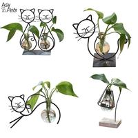 AsyPets Hangling Glass Vase Cat Shape Hydroponic Container Terrarium With Metal Stand Flower Pot Home Decoration