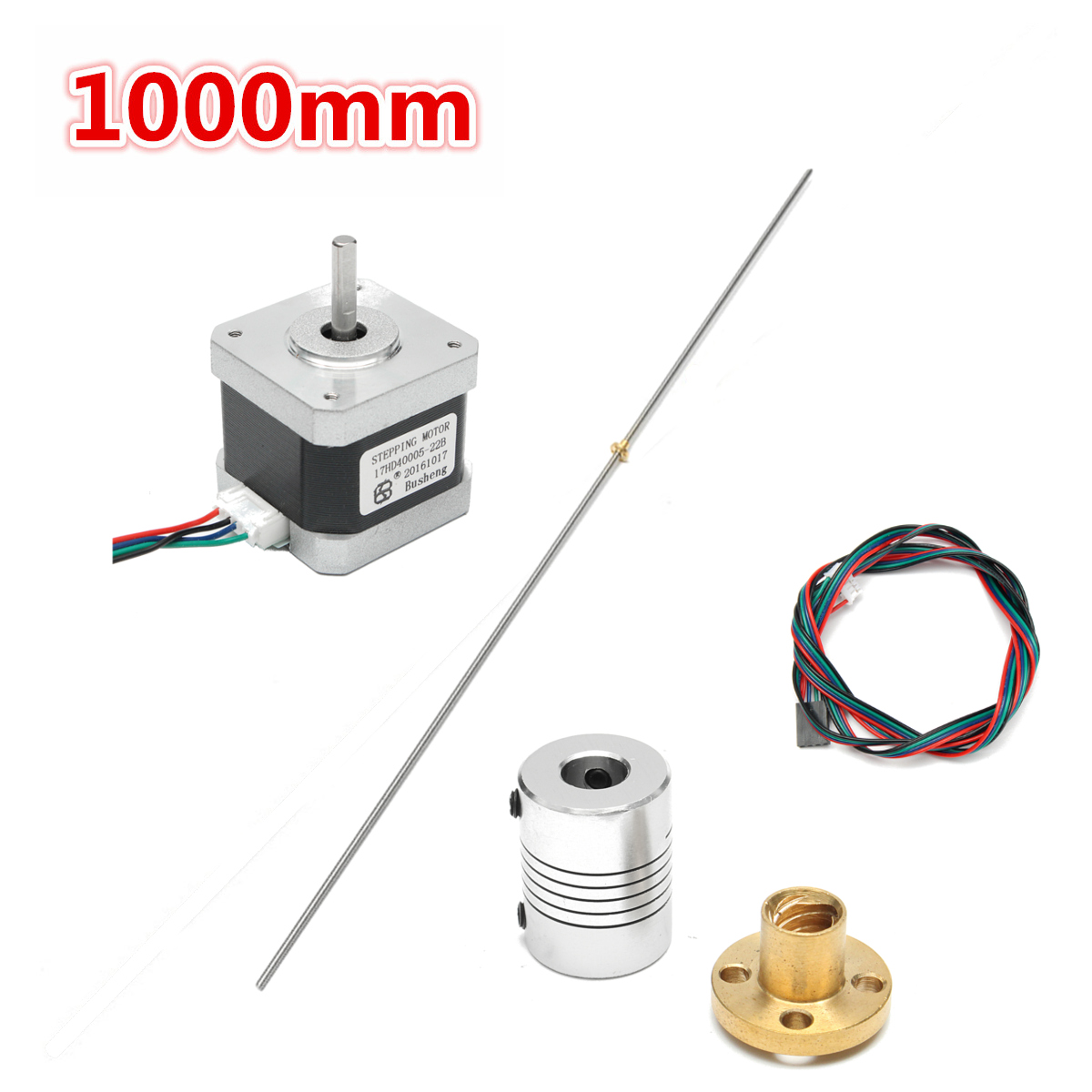 T8 1000mm Stainless Steel Lead Screw with Screw Nut KFL08 Mounted ball bearing Shaft coupling Motor Set 3D printer Accessories mtgather t8 1000mm stainless steel lead screw coupling shaft brass nut motor 3d printer accessories